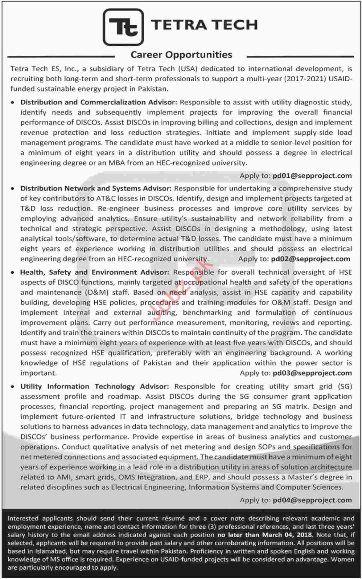 Tetra Tech Karachi Jobs 2018