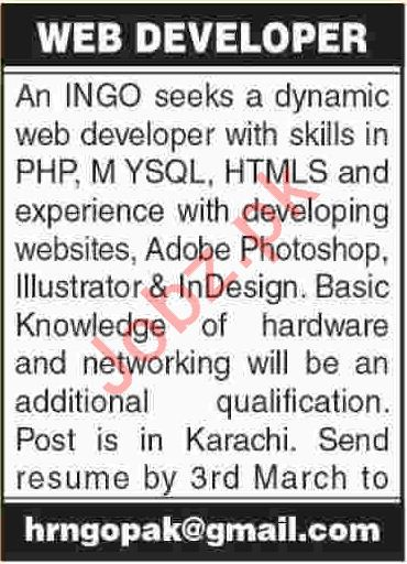 International NGO Jobs 2018 For Web Developer