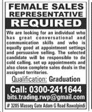 Female Sales Representatives Job Opportunity