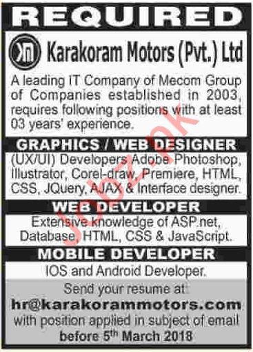 Web Designer Online Jobs In Karachi