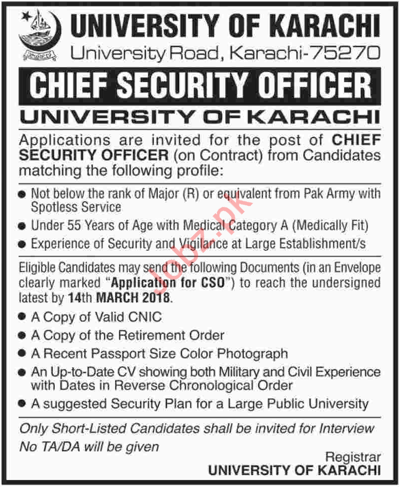 University of Karachi Jobs 2018 for Security Officer