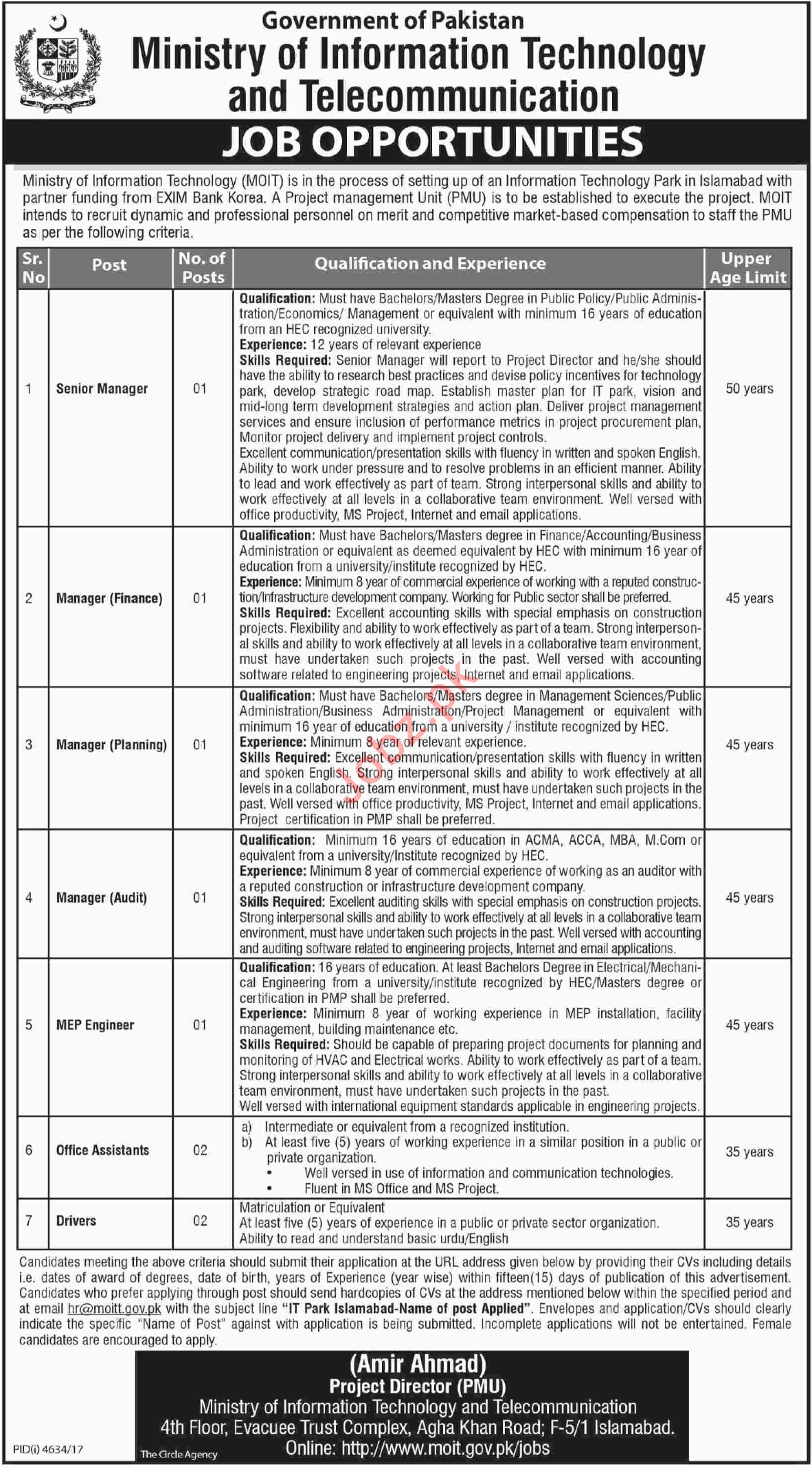 Ministry of Information Technology MOIT Jobs 2018