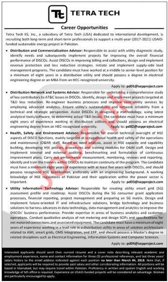 Tetra Tech Karachi Jobs 2018 for Advisor