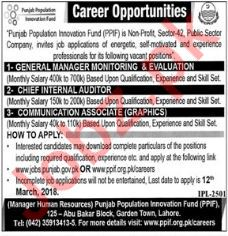 PPIF Jobs 2018 Manager, Auditor & Communication Associate