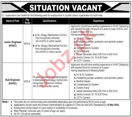 Junior Engineer & Sub Engineer Jobs 2018 in Rawalpindi