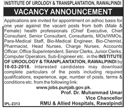 RMU and Allied Hospital Rawalpindi  Medical Jobs