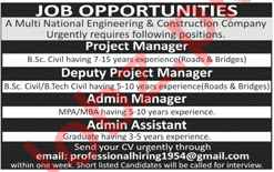 Project Manager & Admin Manager Jobs 2018