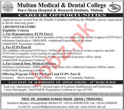 Multan Medical & Dental College Jobs 2018