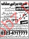 Cadet College Jobs For Lecturers, PTI/Drill Instructor
