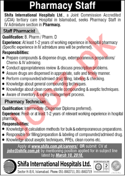 Shifa International Hospital Islamabad Jobs 2018 Pharmacist