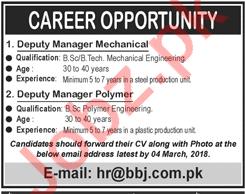 Deputy Manager Mechanical & Deputy Manager Polymer Jobs