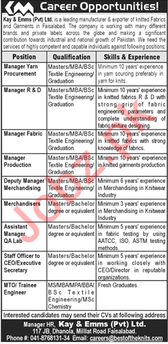 Manager Yarn, Manager Fabric, QA Lab, MTO & Manager Jobs