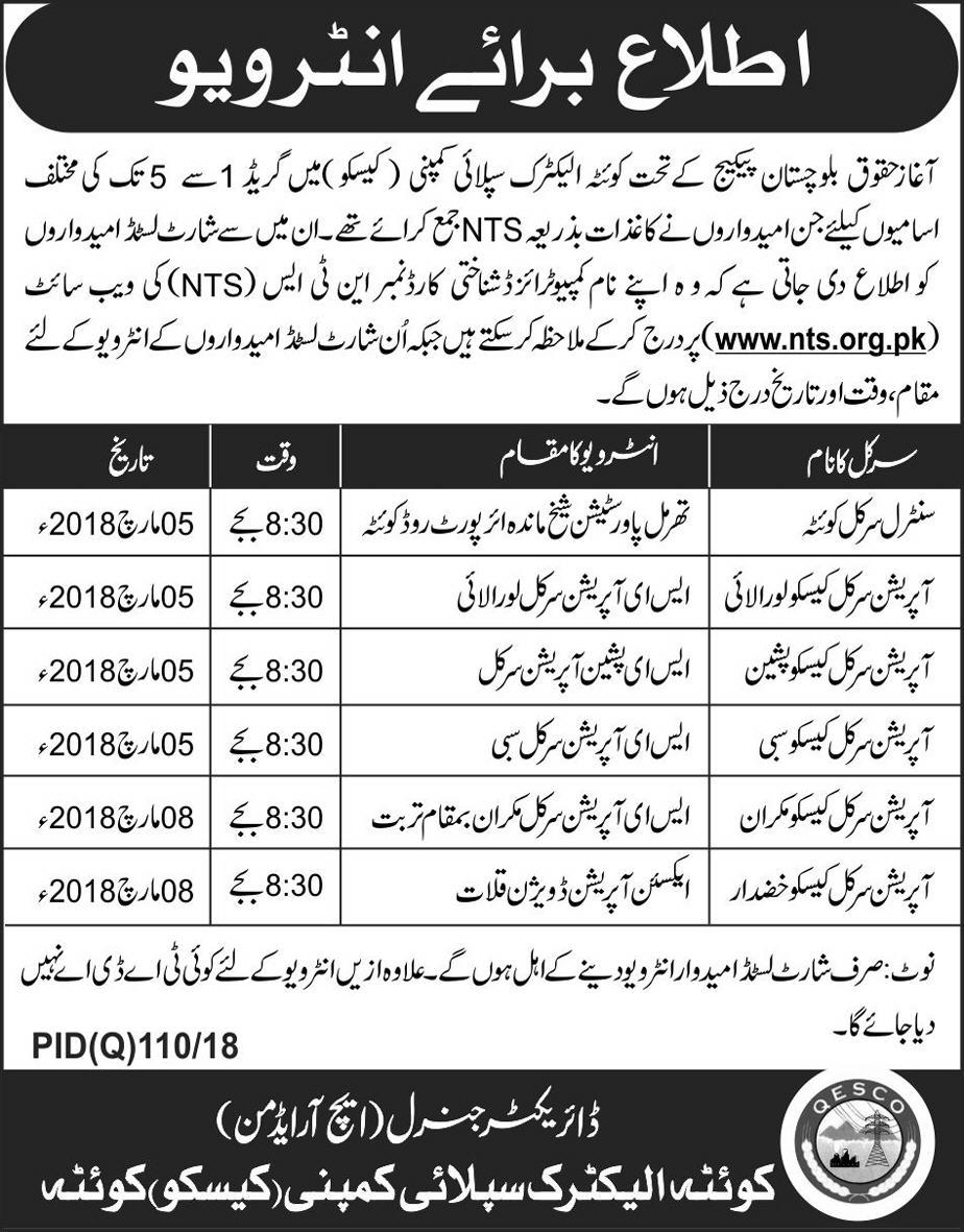 Quetta Electric Supply Company QESCO JObs