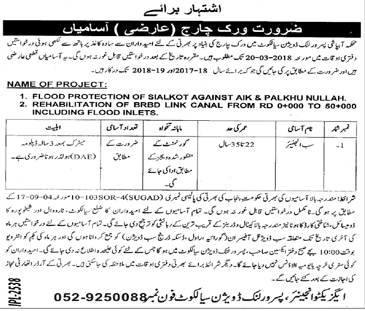 Irrigation Department Pasroor Link Division Sialkot Jobs