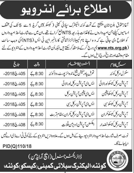 Quetta Electric Supply Company Recruitment of Staff