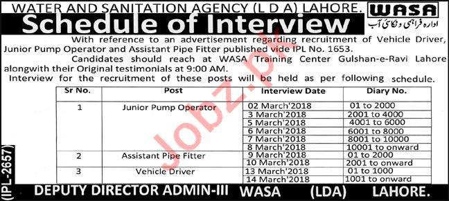 Water & Sanitation Agency WASA Lahore Jobs Interview 2018