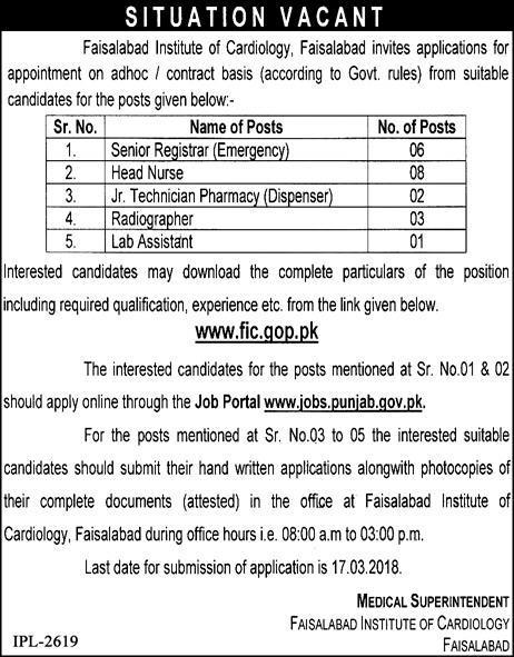 Faisalabad Institute Of Cardiology Jobs  Jobs Pakistan