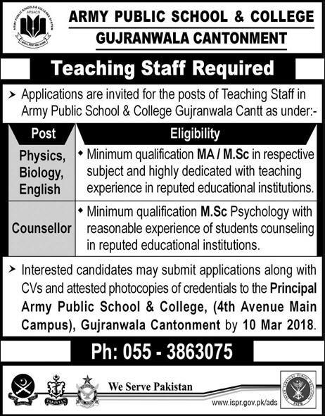 Army Public School & College APSC Gujranwala  Jobs