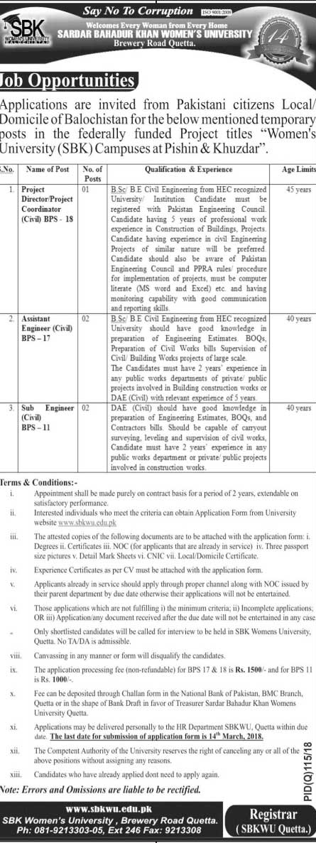 Sardar Bahadur Khan Women University SBK  Jobs