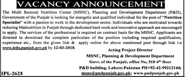 The Multi Sectoral Nutrition Center MSNC Jobs