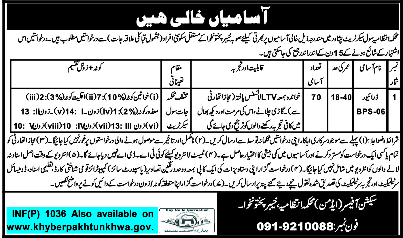 Administration Department Civil Secretariat kpk Jobs