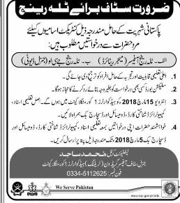 Pakistan Army Training Headquarters 1 Mangla cant Jobs