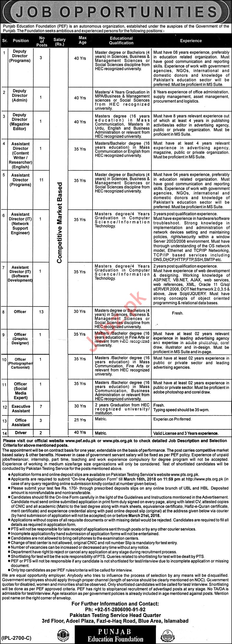 Punjab Education Foundation PEF NGO Jobs 2018 Via PTS