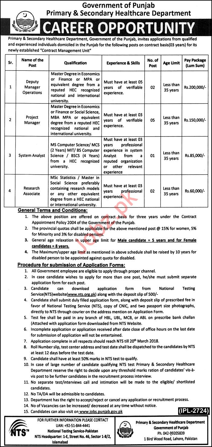 P&S Health Department Jobs 2018 In Lahore Via NTS