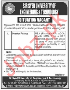 Sir Syed University of Engineering SSUET Karachi Jobs 2018