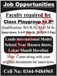 Leads International Model School Havelian Jobs Interview