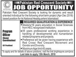 Pakistan Red Crescent PRC Program Officers Jobs