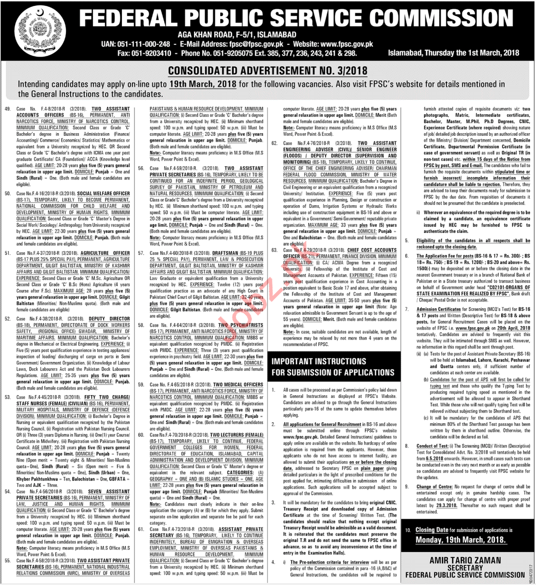 Federal Public Service Commission FPSC Jobs March 2018