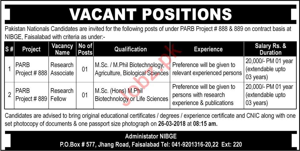 NIBGE Faisalabad Jobs 2018  for Research Associate