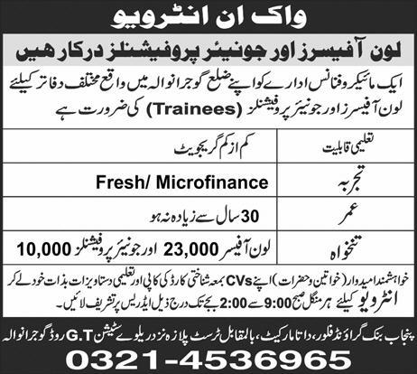 Loan Officers and Junior Loan Officers Job in Micro Finance