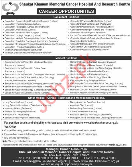 Shaukat Khanum Memorial Cancer Hospital SKMCH Jobs