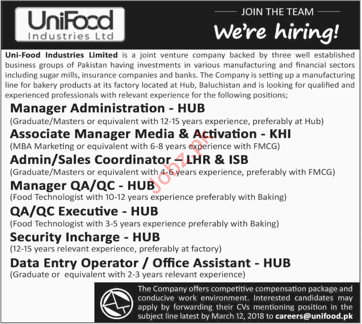 Uni Food Industries Limited Jobs 2018 for Managers 2019 Job