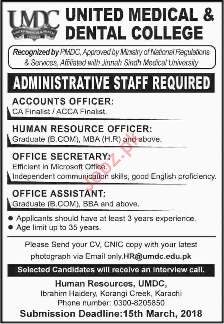 United Medical & Dental College UMDC Karachi Jobs 2018