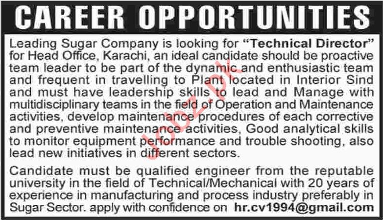 Technical Director Jobs In Karachi  Jobs Pakistan