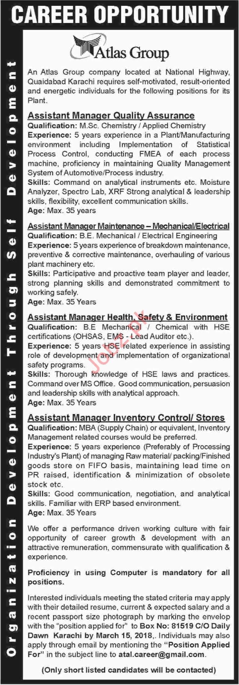 Atlas Group Karachi Jobs 2018 for Managers