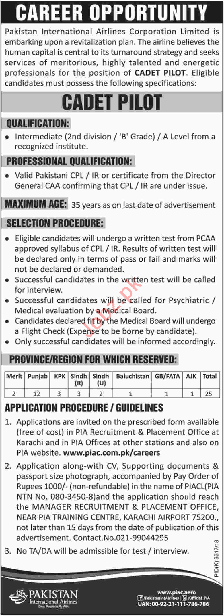 PIA Karachi Jobs 2018 Cadet Pilot