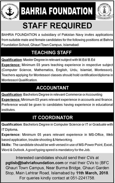 Bahria Foundation  Teaching Jobs