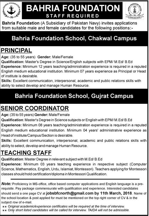 Bahria Foundation  School Chakwal Campus Teaching Jobs