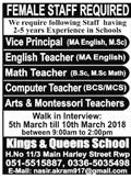 Kings & Queen School Female Teachers Jobs