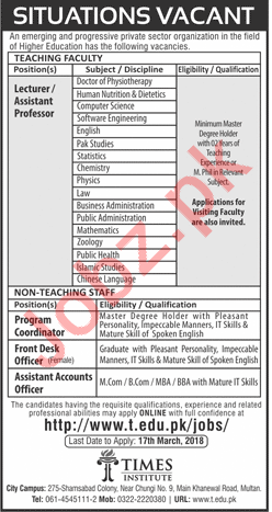 Times Institute TI Job Opportunities