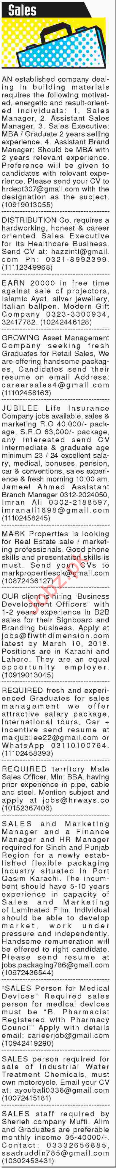 Sales Manager, Assistants, Marketing Officers Jobs 2018 2018 Jobs ...