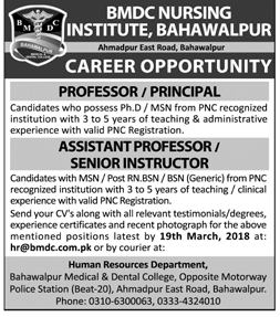 BMDC Nursing Bahawalpur Medical & Dental College Jobs