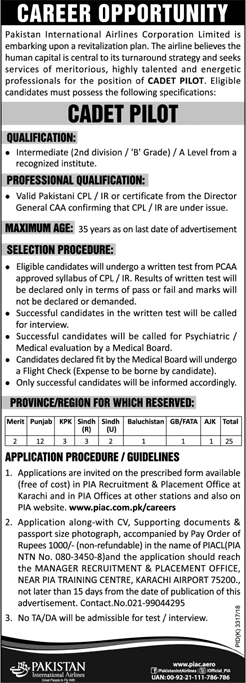 Pakistan International Airlines PIA CADET Pilot Jobs