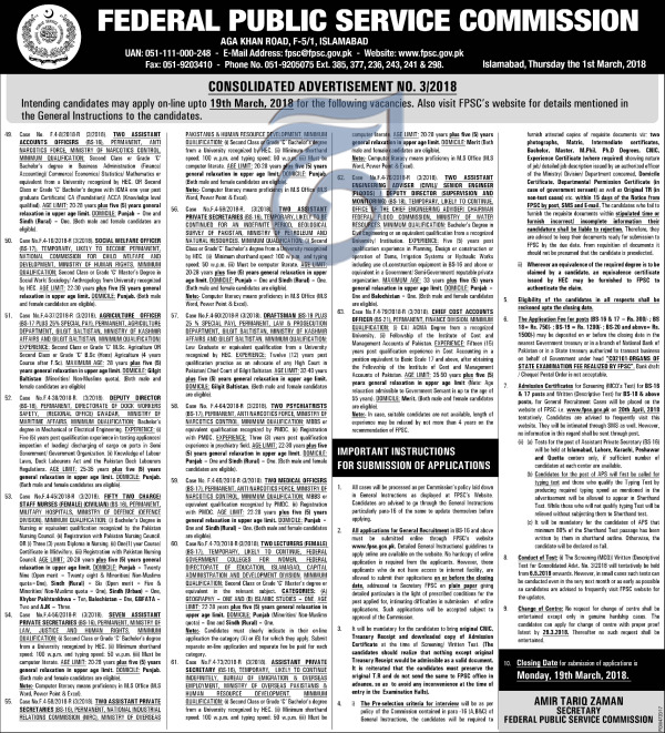 Federal Public Service Commission FPSC Job 2018 Open