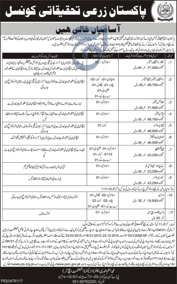 Pakistan Agricultural Research Council PARC Jobs