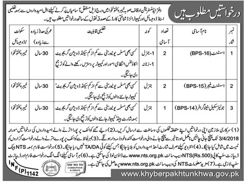 Government of Khyber Pakhtunkhuwa Admin Dept Jobs